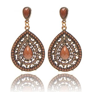 Wholesale Fashion pendant drop earring Bohemia crystal stone send beads water drop shaped casting gold plating jewelry for women