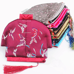 Wholesale Vintage Chinese Clothes Small Coin Purse Jewelry Zip Bags Tassel Storage Pack Silk Brocade Craft Gift Packaging Pouch