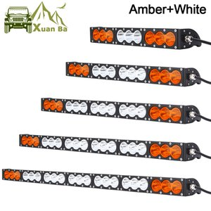 Wholesale Single Row Slim W Offroad LED Light Bar For Truck Atv Uaz x4 Off road Trailer Combo Beam Amber White Warning Barra Yellow Fog Lights