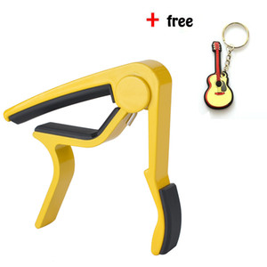 Yellow Single-handed Guitar Capo Quick Change for Acoustic Guitar With Free Guitar Keychain -Aluminum on Sale
