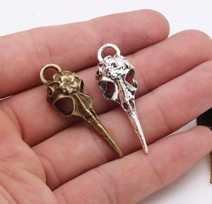 Wholesale Hot Alloy Vintage Style Bronze Silver Tone Skull Bird head Flower Charms Necklace Pendant Jewelry Accessories