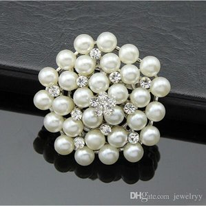 Wholesale Bride Wedding Bouquet Pearl Brooch Imitation Silver Rhinestone Flower Brooches Pins Crystal Corsage Men Women Wedding Jewelry Breastpin