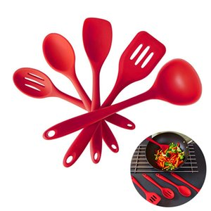Wholesale 5 Pieces Silicone Cooking Utensil Set Spatula Spoon Ladle Spaghetti Server Slotted Turner Cooking Tools Silicone Kitchen Utensils