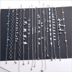 Wholesale 16pcs Women Foot Chain Metallic Fashion Sweet Heart Bow Sexy Ankle Chain New Lady Elegant Minimalistic Love Heart Bracelet Anklet Ankle