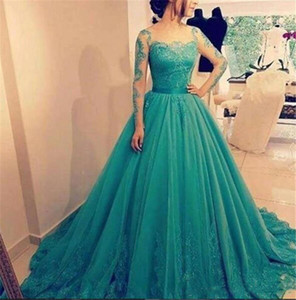 New Vestidos De Festa Formal Ball Gown Prom Dresses Sheer Long Sleeves Tulle Prom Dress Lace Appliques Floor Length Party Gowns on Sale
