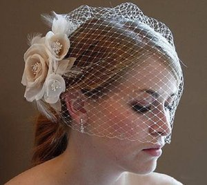 Wholesale Beautiful Bride Veil Hot Selling Blusher Birdcage Tulle Ivory Champagne Flowers Feather Wedding Veil Hat Dress