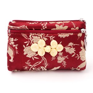 Wholesale Vintage Double Zipper Bags Coin Purse Chinese knot Silk Brocade Jewelry Pouch Mini Double Layer Makeup Bag Credit Card Holder Women