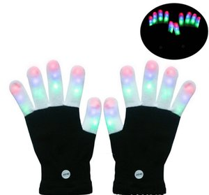 Wholesale LED Rave Gloves Mitts Flashing Finger Lighting Glove LED Colorful Colors Light Show Black and White LLFA