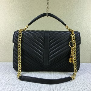 Wholesale High Quality Women s Large CM Lampskin Leather Chevron Crossbody Bag Classic Style Vintage Gold Chain Messenger Bag Hot Style Bag