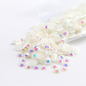 6mm 10000pcs bag Flat Back Resin Rhinestone Beads Good Quality Hot Sale For Garment Accessories D-A001-Jelly White AB