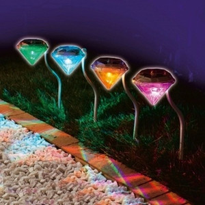 prueba de luz led al por mayor-Solar Lawn Lamp LED Colorful Diamond Light Iluminación de paisaje al aire libre para jardín Path Rain Rain Proof xy F