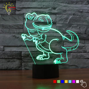 Wholesale Color Change Dinosaur Shape D Acrylic LED Night Lights Table Lamp Lampada LED Lighting Toys Gift for Boys Kids Drop Ship