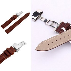 18-24mm Watch Band Strap Butterfly Pattern Deployant Clasp Buckle+ Leather