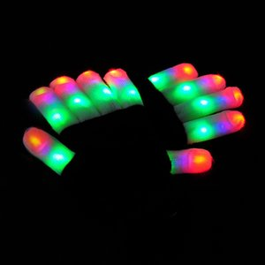 Wholesale LED Flash Gloves Five Fingers Light Ghost Dance Black Bar Stage Performance colorful Rave Light Finger Lighting Gloves Glow Flashing