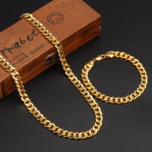 Classics Fashionable Real 24K Yellow Gold GF Mens Woman Necklace Bracelet Jewelry Sets Solid Curb Chain Abrasion resistant