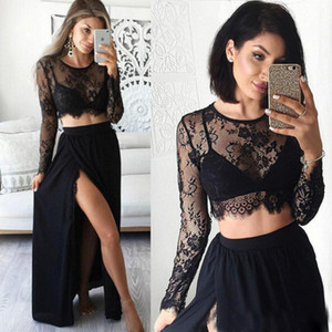 Black Lace Prom Dresses 2017 Sexy Girls Slit Split Two Piece Sheer Special Occasion Gowns Handmade Long Sleeve Formal Evening Gowns on Sale