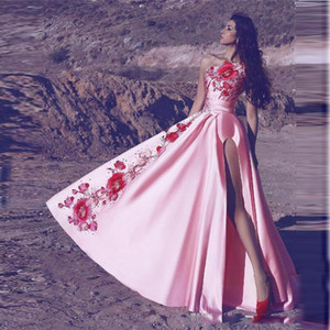 Arabic Pink One Shoulder Prom Dresses Long Satin Embroidery Appliques High Side Split Evening Dress Personalized Country Cocktail Party Gown on Sale