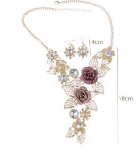 high-end crystal Exaggerated jewelry retro flower jewelry set auger alloy hollow out brief necklace