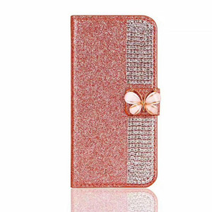 Wholesale For Samsung Galaxy S8 Plus S7 Edge S6 TPU Leather Bling Bling Glitter Colorful Bow Wallet Case Pouch Luxury Soft Pink Back Cover