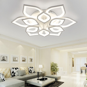 Wholesale acrylic ceiling pendant resale online - Dimming Modern Suspension Led Pendant Acrylic Ceiling Light Flower Chandeliers lighting V V Remove Control Dining Room Lighting