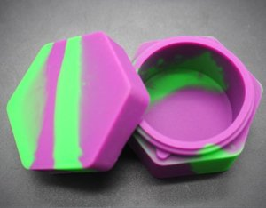Wholesale Electronic cigarette accessories Non stick Silicone hexagon Container For Wax Silicon Jars Dab Wax Container