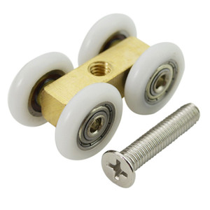 Wholesale roller bearing track resale online - shower room door roller ultra quiet wooden window sliding door pulley hanging rail track nylon wheel glass bearing door hardware