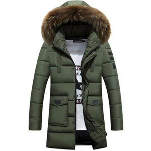 Wholesale Jacket Men Winter Parkas Fur Collar Long Coat Down Cotton Clothes Brand Clothing Male Snow Tops Outwear Overcoat Windbreak