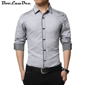Wholesale BooLawDee Men Autumn cotton dress shirts turn down collar full sleeve single breasted white black blue gray size M to XL A001