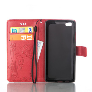 Wholesale 10pcs Butterfly Skin Cover For LG V10 K7 K10 Viko Lenny Pulp FAB U Feel PU Leather Stand Wallet With Rope Card Slots Cases