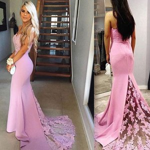 Wholesale Lilac Purple Mermaid Prom Dresses Sweetheart Spaghetti Straps Appliques Lace Satin Backless Cheap Evening Gowns Party Dresses