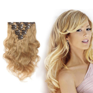 Wholesale 18 remi hair for sale - Group buy 16 Inches g Blonde Body Wavy Hair Clip Ins Double Weft Human Hair Clip In Extensions Brazilian Remi Full Cuticle Hair