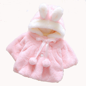 Baby Girls Rabbit Jackets Winter Faux Fur Overcoat For Girls Wool Cloak Sweet Kids Ears Hooded Outerwear Cartoon Kids Coat on Sale