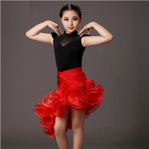 Wholesale 2018 sequins latin girl black and red children dance costumes suit skirt sets for performance kids samba costumes salsa dress fringe