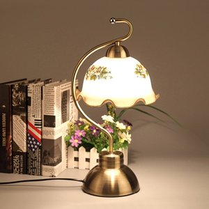 Bronze Metal Study Room Table Lights European Vintage Living Room Table Lamp Glass Study Room Desk lighting Fixtures on Sale