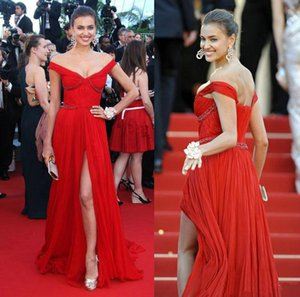 Wholesale V-neck Red elegant dresses open back Celebrity country Sparkling dress Runway 2019 pregnant modest high slit dresses evening gowns beads
