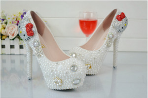 Wholesale New red bowknot pearl crystal shoe heel diamond waterproof platform heel shoes women s shoes