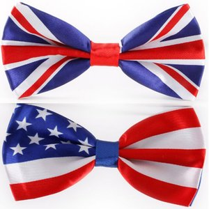 Wholesale Fashion Bowtie American Flag necktie bow tie UK Union Jack British flag bowtie cm bowknot for Christmas gift neck tie