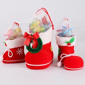 Wholesale Christmas Boots Flocking Boots Socks Creative Gift Box of Candy Decorative Red Boots Christmas Decorations for Home