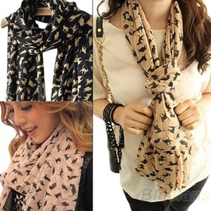 Wholesale Fashion Women Scarf Chiffon Colorful Sweet Cartoon Cat Kitten Scarf Graffiti Style Shawl Girls Gift WZ