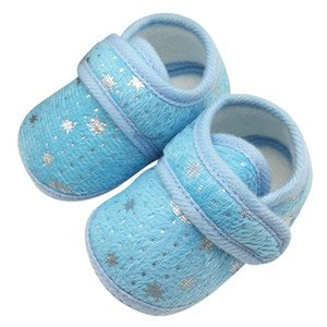 Wholesale Cute Infant Bay Boys Girls Solid Shoes Cotton Crib Shoes Star Print Prewalker First Walker