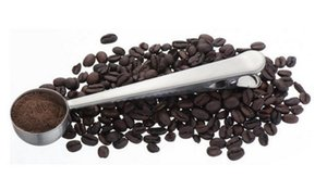 Wholesale Stainless Steel Coffee Scoop With Bag Sealing Clip 1 Cup Ground Coffee Tea Measuring Spoon Kitchen Accessories Drink Tools