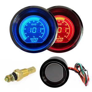 Wholesale Hot inch mm Water Temperature Gauge V Blue Red LED Light Tint Lens LCD Screen Car Digital water Temp Meter instrument