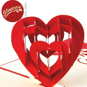 Wholesale 10pcs Exquisite Laser Cut Wedding Invitations Creative Three dimensional Heart Greeting Cards D Pop UP Card