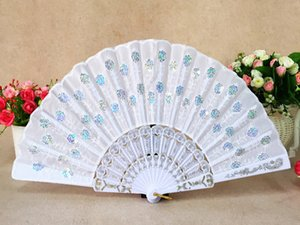 Wholesale Dancing fans Inches cm Handmade peacock embroidery fabric folding fan Mulity color Chinese classic style hand fans DL_HF002