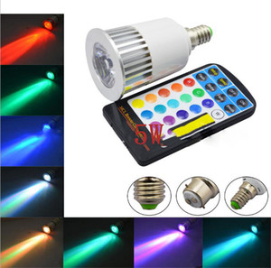 Wholesale E27 RGB LED Bulb Lamp AC85-265V 5W GU10 Spot Light Dimmable Magic Holiday RGB Lighting IR Remote Control 16 Colors