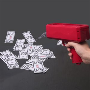 New Money Gun Magic Trick Toys Cash Cannon Make It Rain Red Money Gun Toys For Children 3 Colors WIth Retail Package on Sale