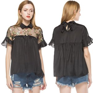 Wholesale Black Flower Embroidered Shirt Sheer Neck Ruffle Cuff Back Top Woman Short Sleeve Blouses Vintage Blouse Summer Tops