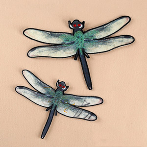 Wholesale 5pcs Dragonfly Iron On Patch For Clothing Sequined Patches Jeans Jacket parches ropa Glitter Embroidered Fabric Patchwork Bicycle Appliques