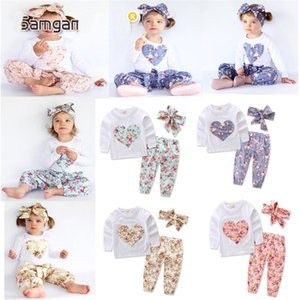 Wholesale Baby heart shaped flower outfits Kids Casual long sleeve T shirts pants Bow headband sets Floral pajamas Clothing Sets