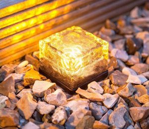 Wholesale RGB Solar Lamp Colorful Led Crystal Cube Garden Outdoor landscape Light Solar lawn lamp Yard Stake Decoration Light